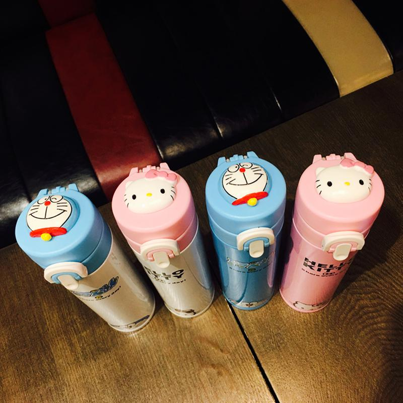 Creative Doraemon stainless steel vacuum thermos cup, male and female students portable cartoon straight cup, machine cat cup