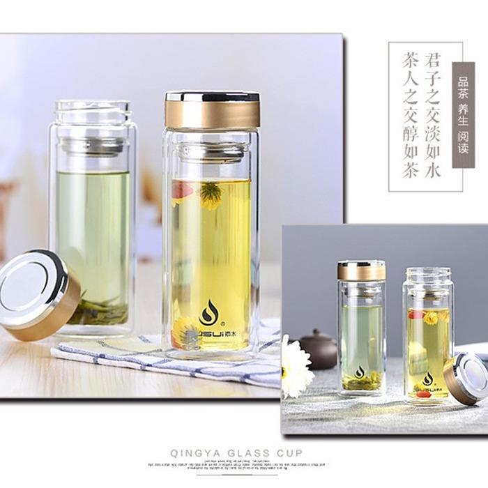 夏のビジネスの真空ガラスの透明なオフィスの保温するカップ男女の中で、老年の断熱の濾過ネットはお茶を入れて、湯飲み