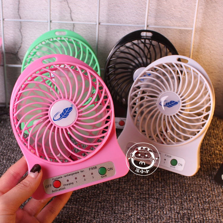 The new summer cute W910 turbo USB neck rechargeable mini fan third gear speed 4 inch shipping fan