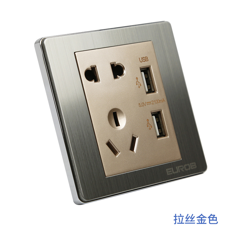 Wall switch socket, five hole with USB socket, USB five hole variable voltage DC 5V charging socket panel
