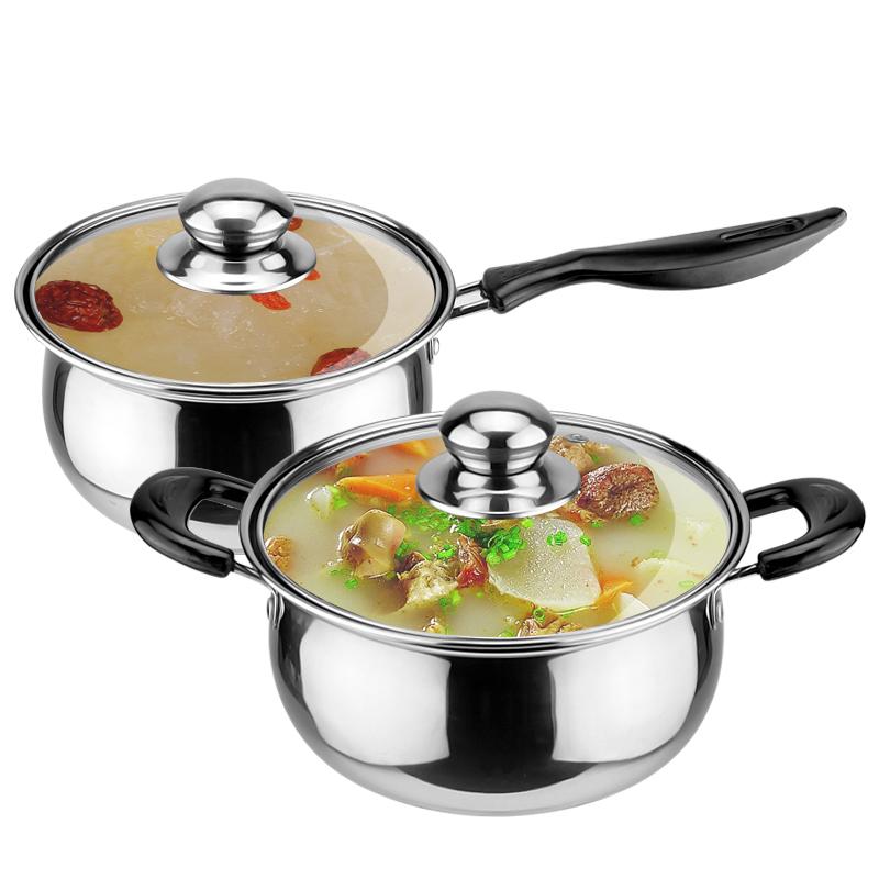 тенджера супа с юфка неръждаема стомана, мляко, мляко, мини малко трева, трева, не се топло мляко печка на газ