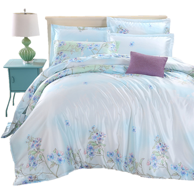 Tencel four sets of spring and summer naked 1.8m double-sided 4 piece silk silk bedding bedding