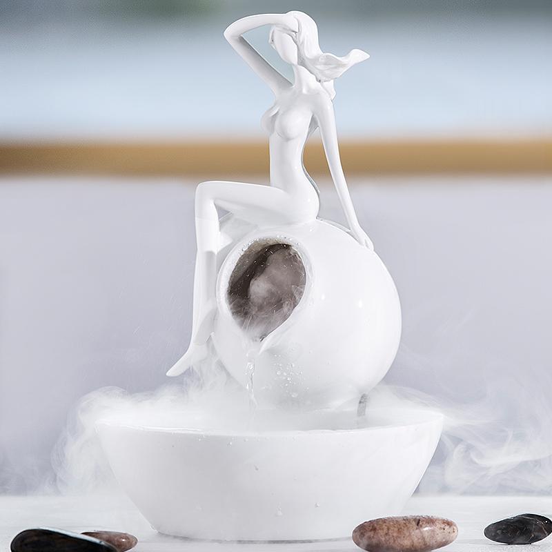 현대 간략하다 창의 흐르는 분수 장식품 분사식 가습기 거실 거실 현관 공예 장식품 장식품