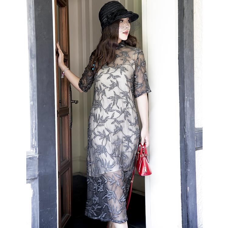 介面 重工真丝刺绣 中国风 改良旗袍连衣裙  ¥920
