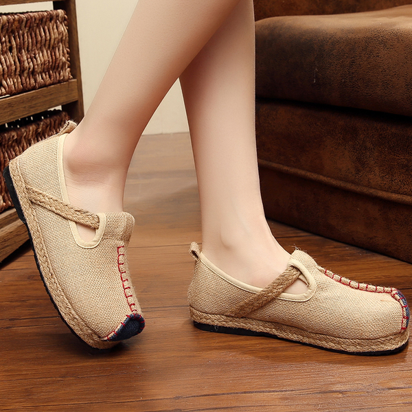 The new linen handicrafts national wind cloth shoes pure color flat with the thick end of the casual arts Fan single shoes a pedal