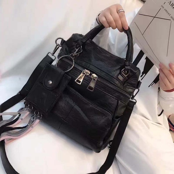 Leather handbags Korean version of the leisure multi-purpose large-capacity soft leather shoulder bag sheepskin fringed handbag shoulder Messenger bag