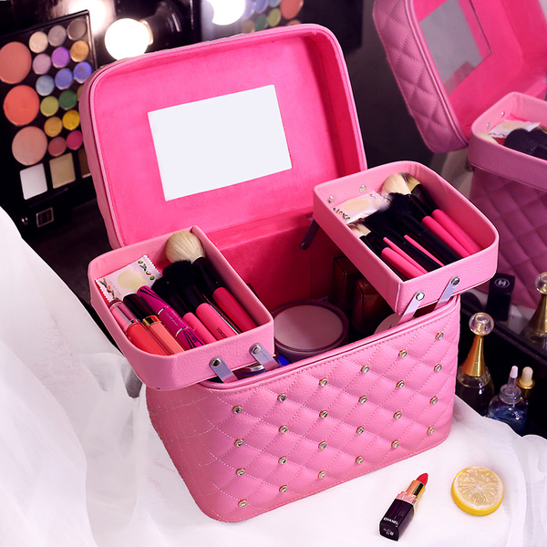 Female cosmetic bag large professional portable large capacity multi-storey portable travel hard storage cosmetics cosmetic case