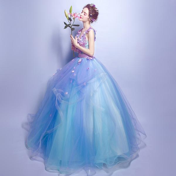 蓝色花朵深v领新娘结婚敬酒服长款婚纱礼服晚宴年会演出服2538