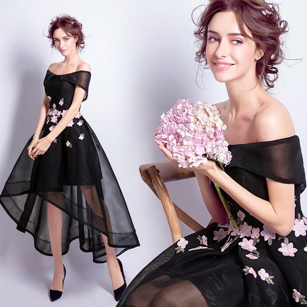 黑色前短后长款晚宴年会演出婚纱小礼服伴娘服2016冬季新款5597