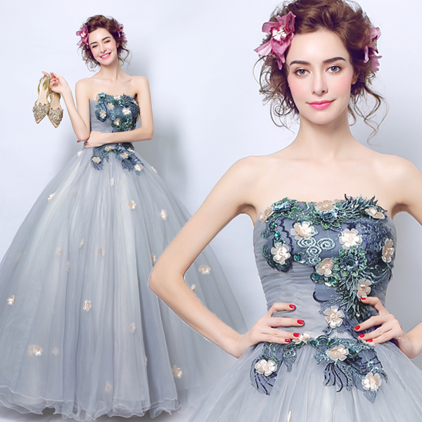 Grey Bra princess bride wedding flowers wedding dinner will be on stage in a long paragraph dress 3206