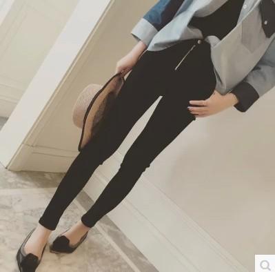 6454#2015女装秋季新品韩范简约小脚裤纯色高腰双扣铅笔裤