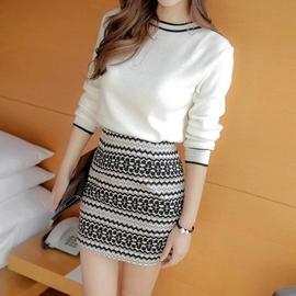 时尚韩版针织打底毛衣包臀裙套装