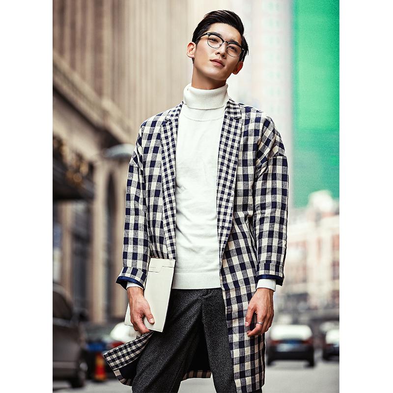 日系棉麻材质 欧美落肩宽松版型设计男士格子中长款风衣