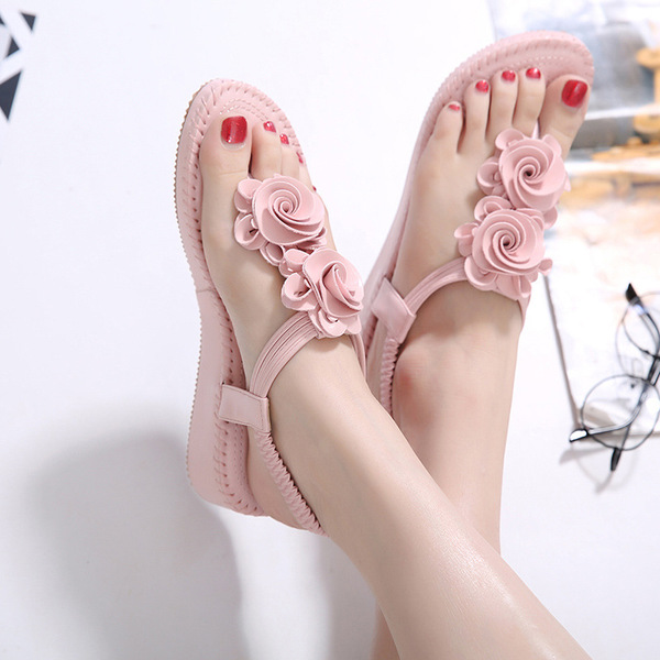 2017 summer new Bohemian pure color black apricot clip toe flowers in the slope with the word drag women shoes sandals