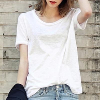夏季欧美新款纯色圆领宽松大码女装竹节棉T恤女短袖简约休闲上衣