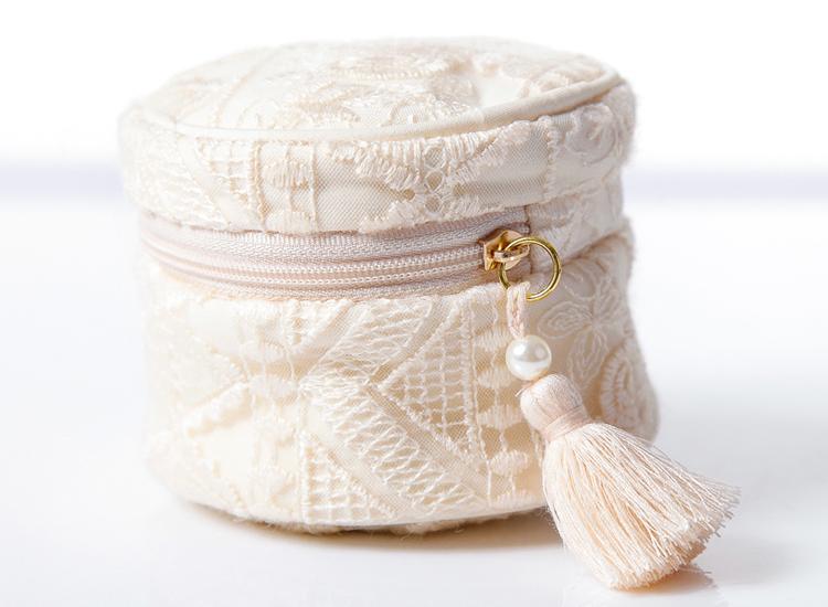 اليابانية فتاة القلب الدانتيل ماكياج حقيبة السفر المحمولة المجوهرات مربع شرابة حقائب الرباط حقيبة تخزين منديل صحي حقيبة o0o
