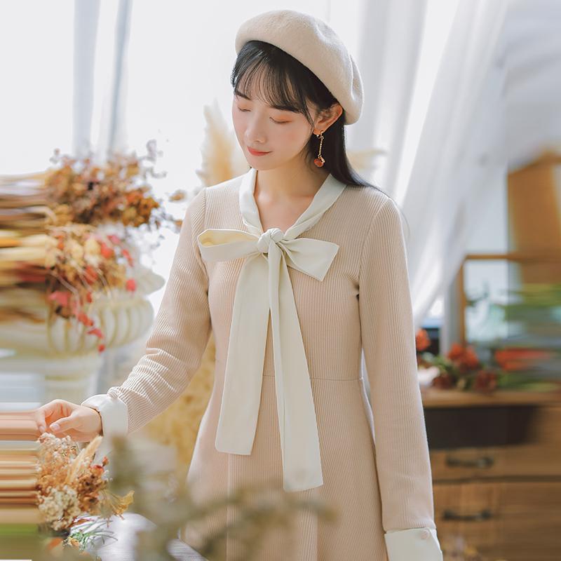 【6475#不低于98】学院风打底秋冬女装针织连衣裙中长款长袖