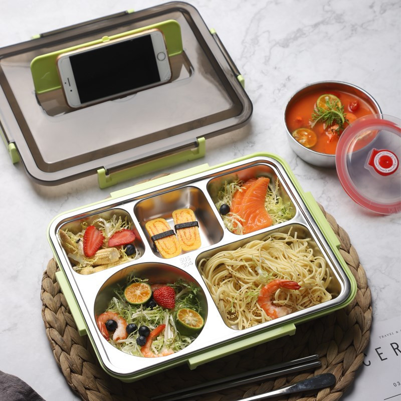 Lunch box compartment stainless steel student dining box
