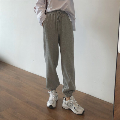 taobao agent Muzi 21 autumn/good to wear, no discussion, black and gray basic style, leg opening, casual pants, women's trousers, sweatpants, sweatpants