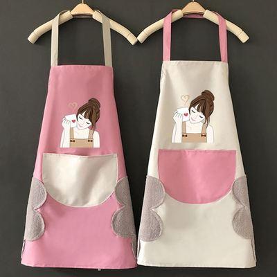 时尚围裙女防水防油可爱围裙女厨房做饭围裙可擦手无袖围裙工作服