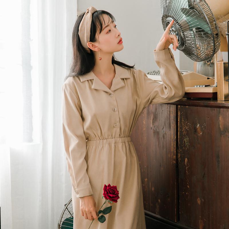 【6489#不低于98】复古法式少女气质长袖修身收腰打底裙连衣裙女