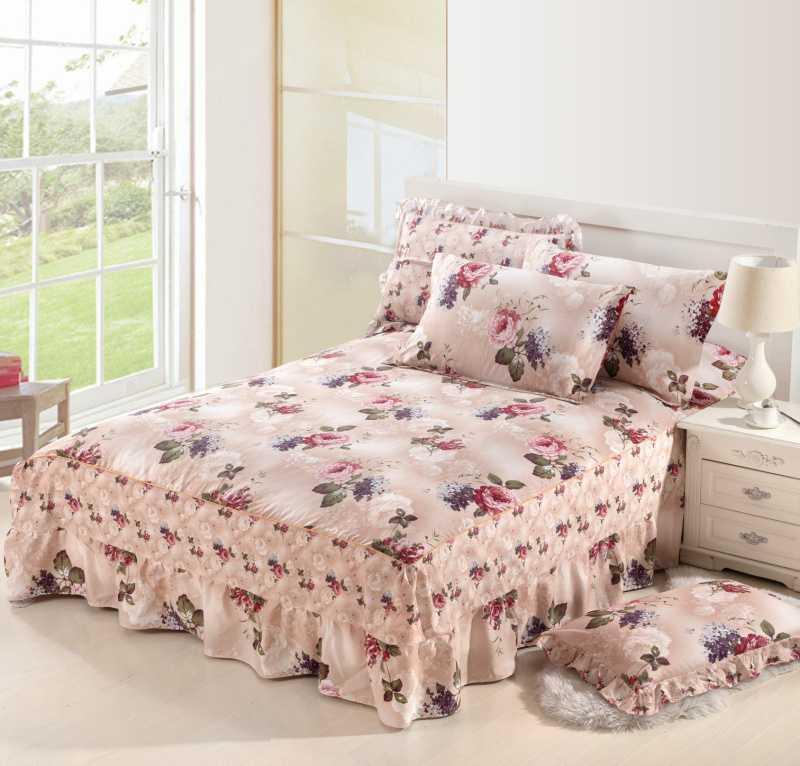 。棉带花边罩式四件套1.8 \/夏床裙