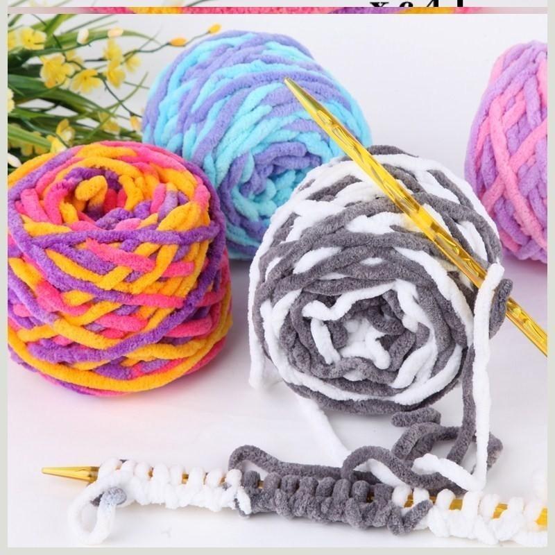 粗线毛冷线毛线球编织手工羊毛针织毛球围巾线红色儿童绒球绒绒