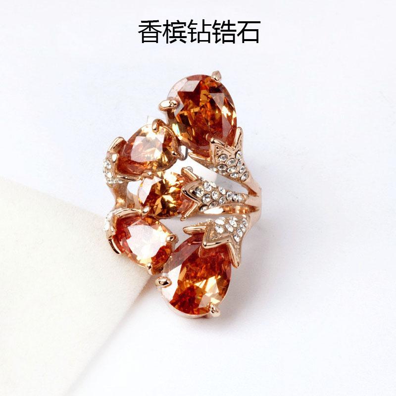 欧美奢华食指大红宝石戒指女 复古夸张锆石水钻花朵装饰戒指夜店