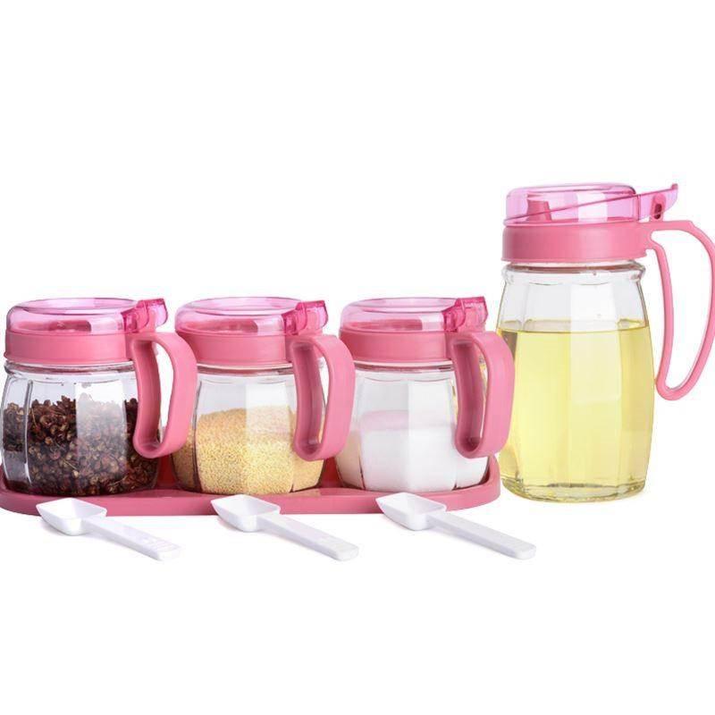 厨房用品玻璃油壶调料盒放盐罐调味罐家用佐料瓶收纳盒组合装套装