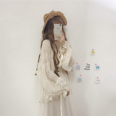 taobao agent Fairy with suspenders, skirt and blouse, cardigan, lace, chiffon, sunscreen shirt, summer shawl coat, thin top