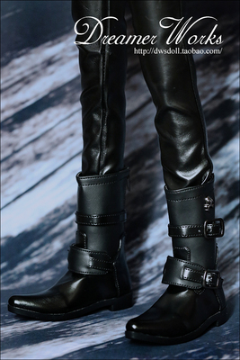 taobao agent SD BJD 3 points 4 points sd17 doll shoes black double buckle short boots/military boots 1/4, 1/3, uncle