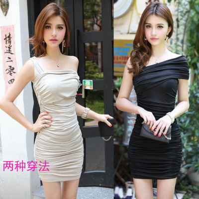 taobao agent Plus size new slim fit sexy nightclub pseudo-girl slanted shoulders slimming hip dress pseudo-girl cross-fit tight