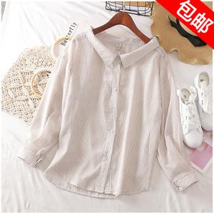 Taotao quần áo mùa hè mới lỏng POLO cổ áo dài tay áo sọc đơn ngực áo sơ mi nữ 30529