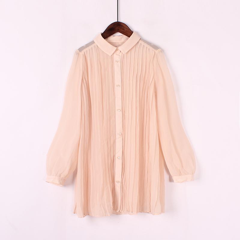 Mùa xuân và mùa hè mới retro art fan loose casual áo sơ mi dài tay áo xếp li dọc thời trang chất béo MM top