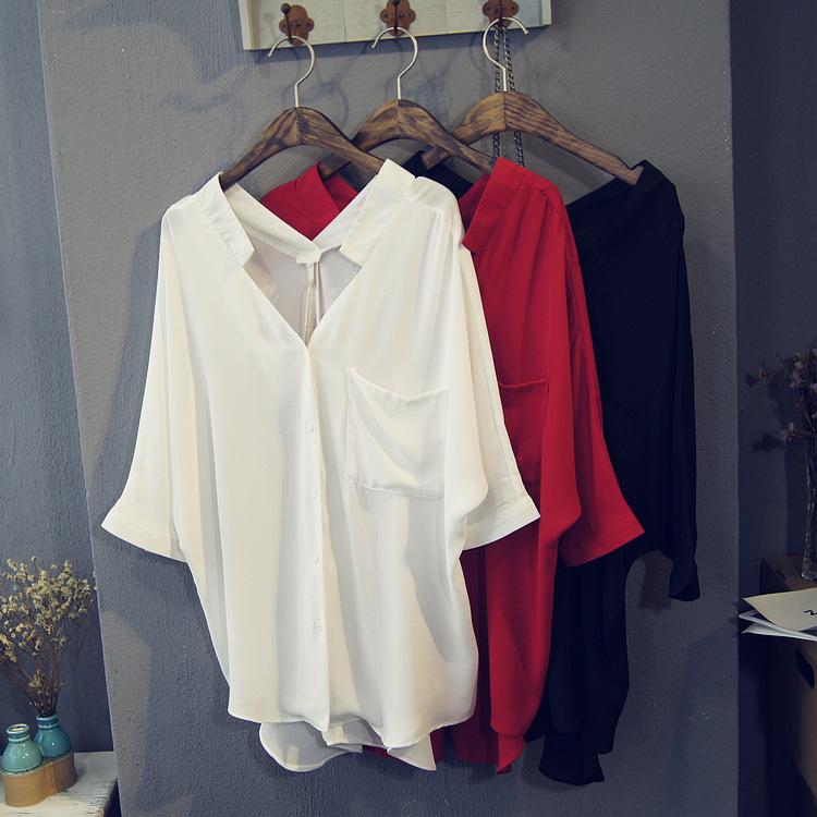 Шифон рубашка женщина летний костюм 2020 корейский вентилятор дикий свободный короткое замыкание в передней долго V шея белые рубашка куртка 520163274987