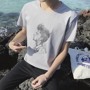 夏季男士短袖T恤 时尚潮男纯棉T恤衫2018新款半袖圆领透气体恤衫