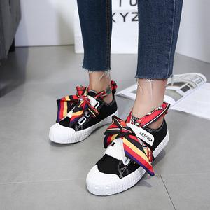 新款板鞋百搭帆布鞋女魔術貼女鞋懶人學生韓版休閑個性布鞋