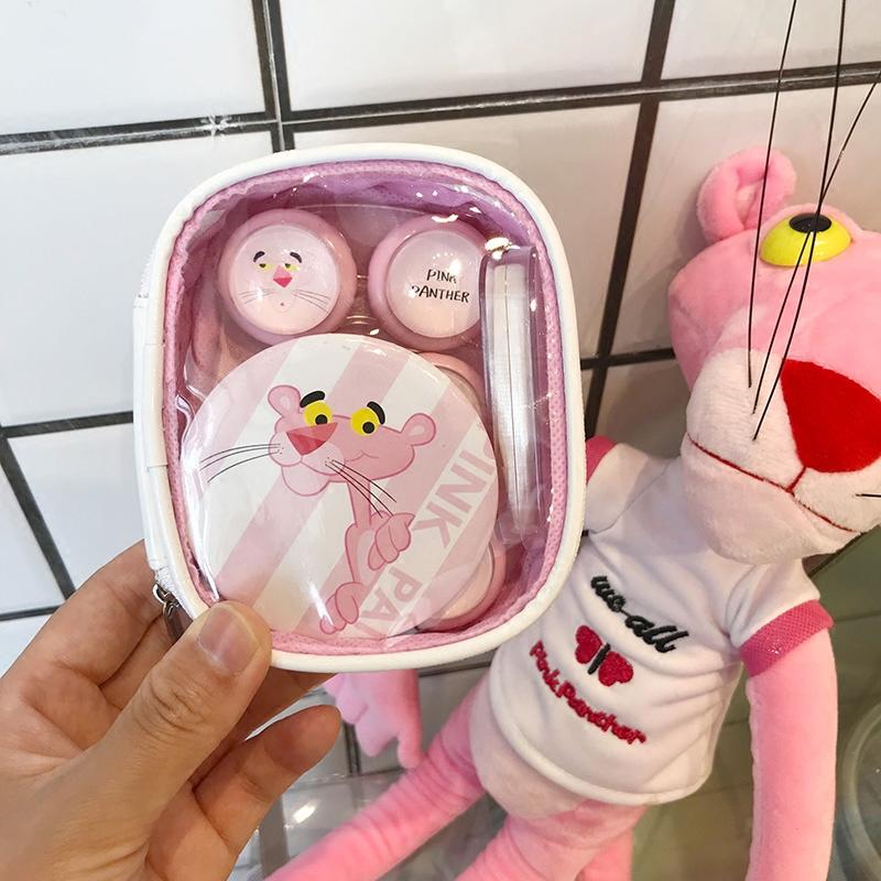 隐形近视眼镜盒可爱卡通粉红豹隐形眼镜盒美瞳伴侣盒护理盒3副装