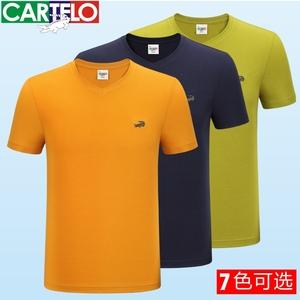 正品鱷魚簡約搭夏季短袖t恤男士v領純色修身男裝半袖t桖韓版txun