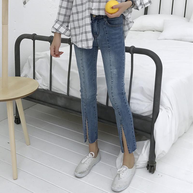 (现货)8002【模特实拍】春夏新款修身开叉韩版显瘦毛边女九分裤潮