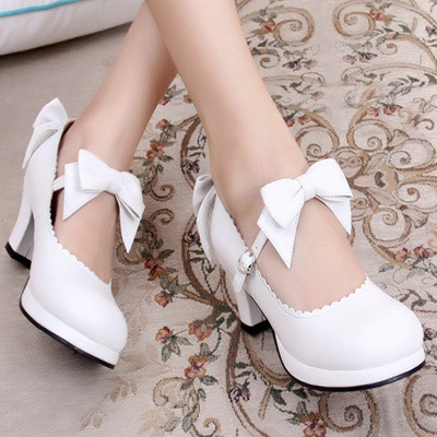 taobao agent Lolita Lolita sweet student bow daily tea party high thick heel small leather shoes