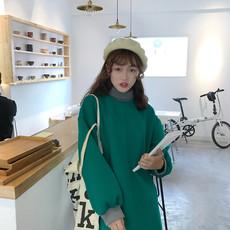 8159#实拍 实价 韩版学院风高领拼接针织加厚保暖宽松中长款卫衣
