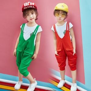 宅时尚2017夏季女童新款连体裤韩版口袋背带裤套装中大女童装