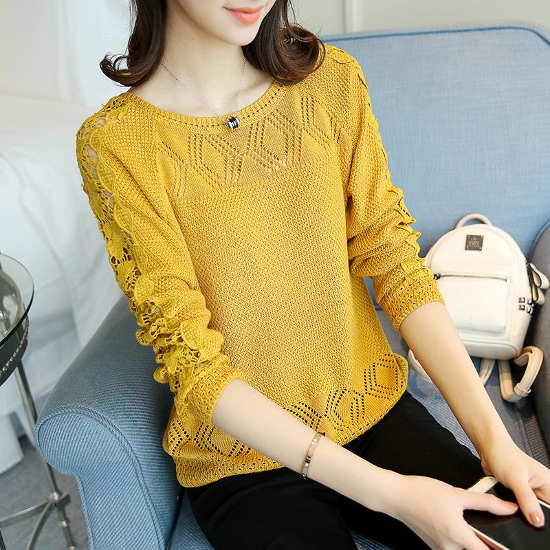 2018 mùa xuân của phụ nữ vòng cổ rỗng áo len Hàn Quốc thời trang mùa hè bộ ren màu rắn áo len mỏng thủy triều