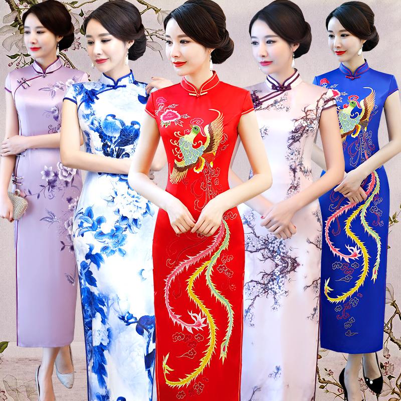 长款旗袍走秀丝绸旗袍连衣裙演出礼服