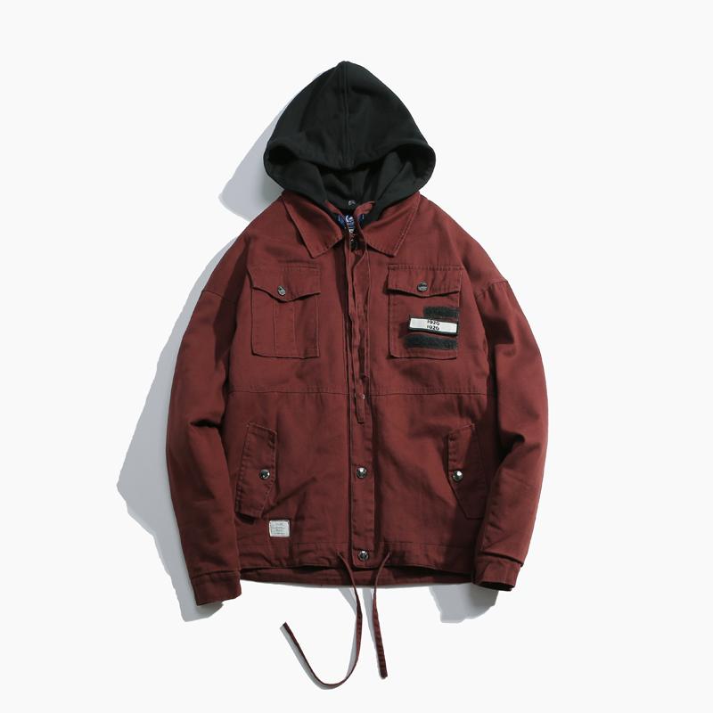Ca cao Nhật Bản trung tính đơn giản trùm đầu BF retro dụng cụ áo khoác nữ mùa đông học sinh lỏng áo khoác cotton