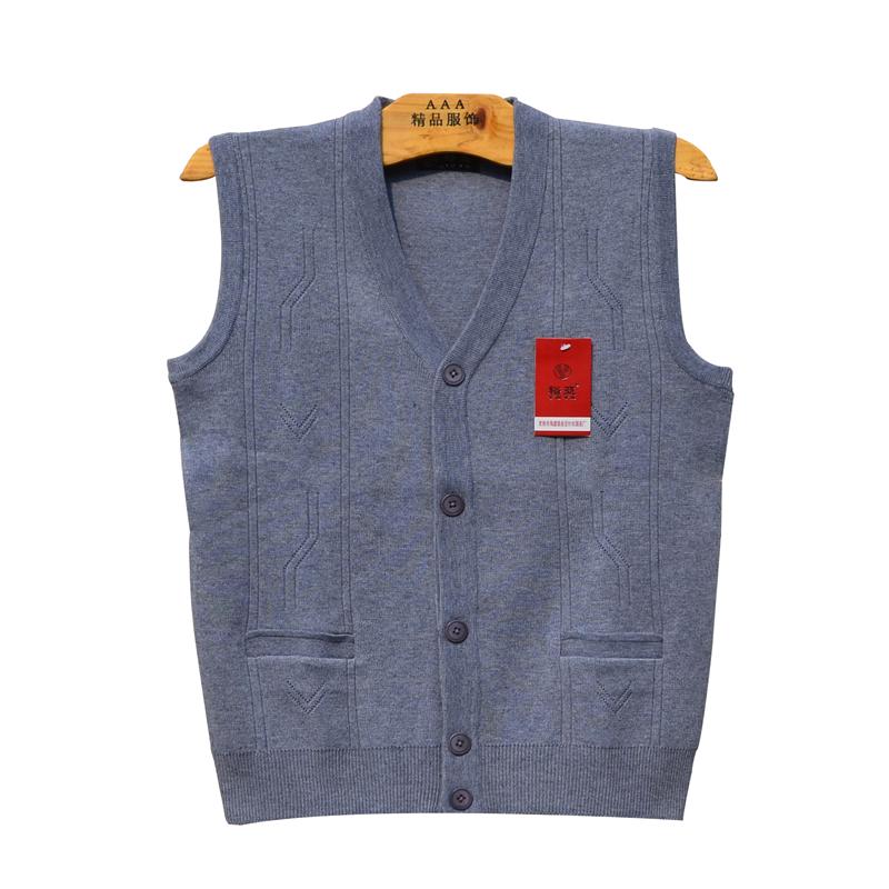 Trung niên mùa xuân và mùa thu nam vest vest cha mặc V-Cổ ông già len vest cardigan áo len áo len
