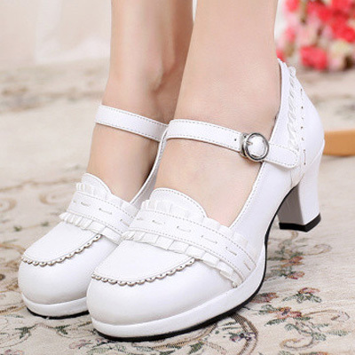 taobao agent Lolita ribbon sweet Lolita round toe solid color thick high-heel dress shoes