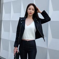 7972#2016秋冬新款韩版皮衣气质时尚短款夹克西装翻领皮衣外套女
