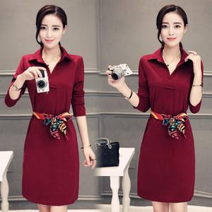 实拍秋装新款韩版气质长袖连衣裙中长款包臀显瘦修身衬衣领打底裙